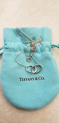 Authentic Tiffany & Co Silver Elsa Peretti Interlocking Oval Ring Necklace