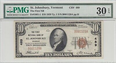 $10 First National Bank of St. Johnsbury, Vermont, Series1929, Ch #489, VF30 EPQ