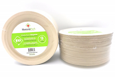 [100 COUNT] 9 in Round Disposable Plates - Natural Sugarcane Bagasse Bamboo Nine