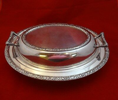 Beautiful Vintage Covered Silverplate Vegetable  Dish with Floral Design