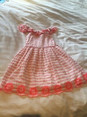 Girls Marks & Spencer Pink And White Striped Dress With Drill Top- Age 4-5 Years