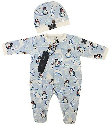 NEW Young Versace RRP£179 Blue Babygrow Hat Baby Kids 9 MONTHS Clothing Set A312