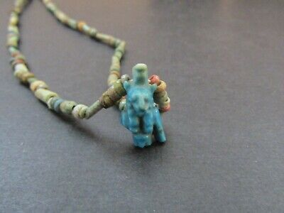 NILE  Ancient Egyptian Sekhmet Amulet Mummy Bead Necklace ca 1000 BC