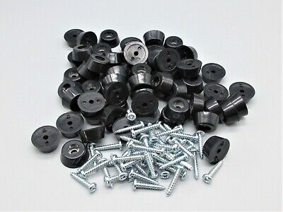 "48 small rubber Bumper feet w/ screws. 3/4"" D x 1/4"" H - for Cutting Boards."
