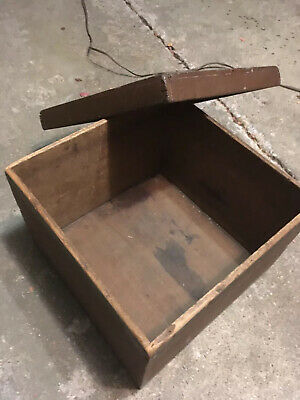 Primitive Antique hand made vintage 17x17x14 inch wooden storage Tool Gift box