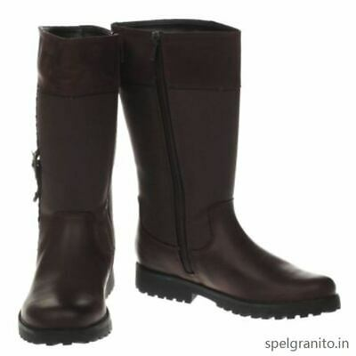 New Clarks Girls Rhea Go Gtx Brown Leather Long Boots Size 1.5 F Fit