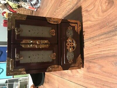 Antique Vintage Jewelry Box Set Red Dark box stand Old Good condition
