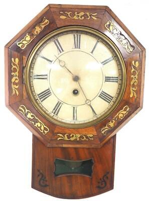Burr Walnut Antique 8 Day Inlaid Drop Dial Wall Clock Black Forest Wall Clock