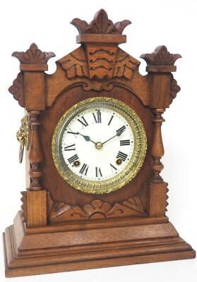 Ansonia Antique Oak Carved Mantel Clock 8 Day Striking Mantle Clock C1900