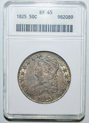 1825 Capped Bust Half Dollar 50C  ANACS XF45 nice fields! Slabbed