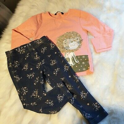 Girls 2-3 years Bundle cat floral Top jeans trousers jeggings outfit Next Day