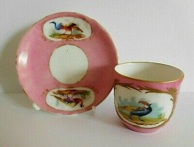 Antique French Pink Sevres Style Coffee Cup And Saucer Painted With Birds