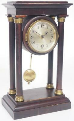 Antique HAC Mahogany Mantel Clock 8 Day Timepiece Portico Clock C1900 Working