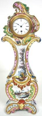 French 8 Day Porcelain Mantel Clock Miniature Longcase Clock Fracas Denis C1877