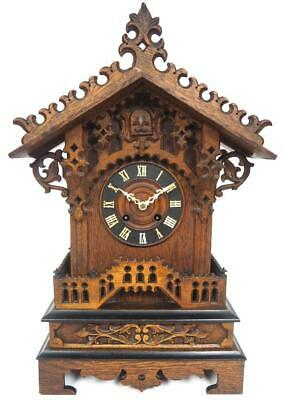 Fine Antique Caved Cuckoo 8Day Bracket Mantel Clock Striking Chalet Cuckoo Clock