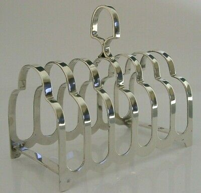 ANTIQUE ENGLISH SOLID STERLING SILVER TOAST RACK SIX SLICE 1932 104g ART DECO