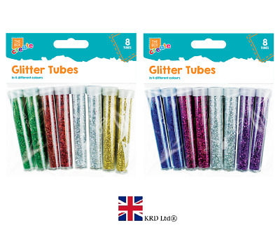8 x GLITTER TUBES PACK Kids Multicolour Craft Arts Crafts Xmas GMSTA0278 UK