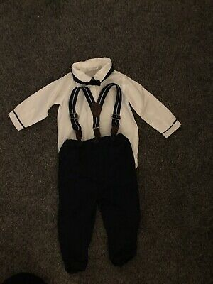Next Baby Boy 6-9 Months Shirt, Braces And Dickie Bow Tie