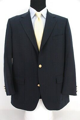 Brooks Brothers 3Roll2 Navy Blue Blazer 100% Wool 1/2 Lined Men's 41R