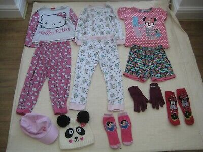 M&S, Minnie Mouse & Hello Kitty Pyjama's Sets x 3 + Hats Gloves - Age 5-6 years