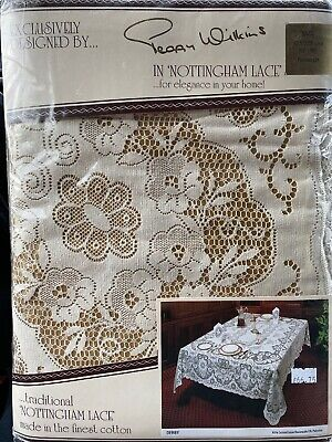 Nottingham Lace Ivory Cotton Tablecloth 70 x 90 Rectangle Made Great Britain NEW