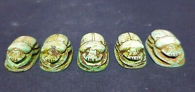 Rare Antique Ancient Egyptian Antiques 5 Scarab Beetle Khepri Good Luck 1760-164