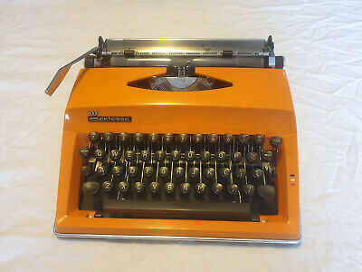 Adler Contessa Vintage Typewriter, classic orange, Made in Germany, with case
