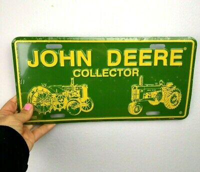 JOHN DEERE TRACTOR COLLECTOR ALUMINUM LICENSE PLATE Classic Green