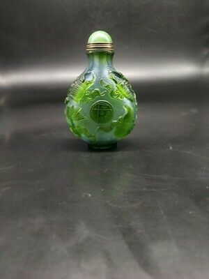 CH1007 China green Glass Nesting Hand carved Implement Transparent Snuff bottle