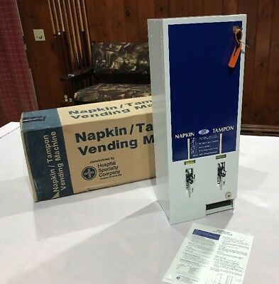 NEW Hospital Specialty Co. Tampon/Napkin 25 Cent Vending Machine w/ Key & Box!