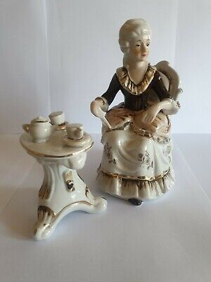 Vintage Porcelain Figurine, Seated Lady with Tea Setting, Brown and White