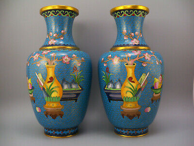 Early 20th Century Pair Blue Chinese Cloisonne Flower Floral Vases Vase