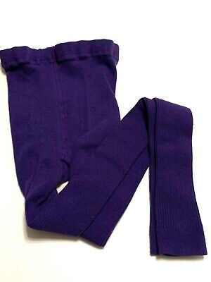 Mini Boden Purple Ribbed Knit Footless Tights Girls Size 13-14