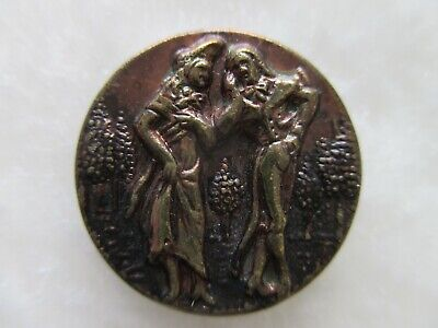 """*ANTIQUE 19thC~FANTASTIC FRENCH FOPS MAN & WOMAN~TINTED BRASS BUTTON~3/4"""""""