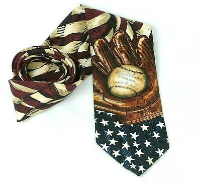 Baseball and Glove on American Flag Patriotic Sports Novelty Necktie #642 New