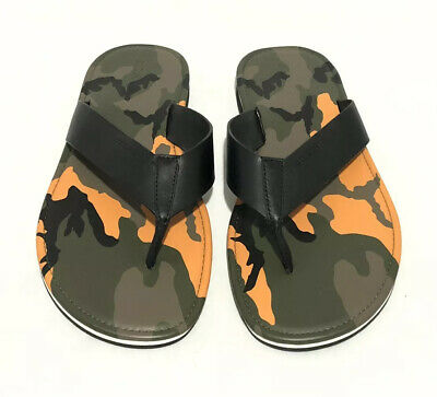 New Coach Men/'s Rockaway Flip Flop Thong Sandals 10D Flag Black # FG2051