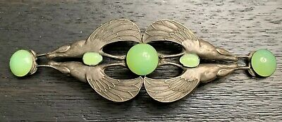 "Antique French Silver Art Nouveau Scarab Egyptian Revival Belt Buckle 7"" Wide"