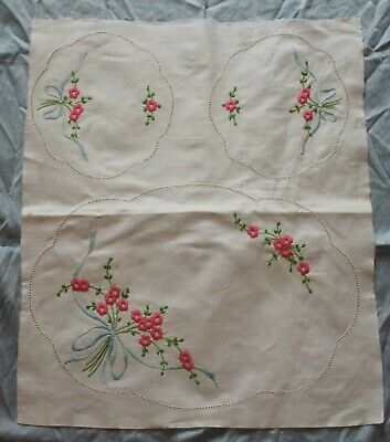 Vintage Unfinished Embroidered Ribbon & Flowers Duchess Doily Set
