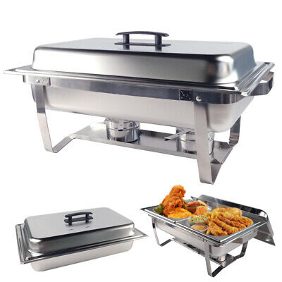 9L Chafing Dish Bain Marie Bow Stainless Steel Buffet Food Warmer Stackable Set