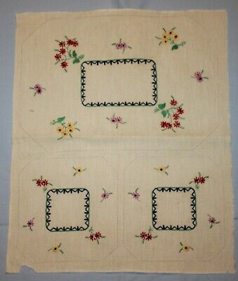 Vintage Unfinished Embroidered Floral Duchess Doily Set
