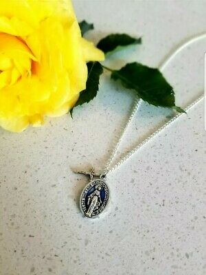 "Large 1"" Blue Miraculous Medal Virgin Mary Pendant Necklace 18"" Chain Italy"