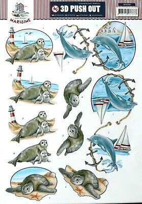 A4 DIE CUT 3D PAPER TOLE DECOUPAGE Push Out Sheet Seal Dolphin Turtle Sailing