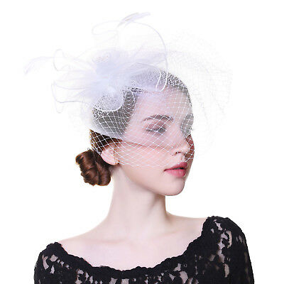 Feather Fascinator Hair Clip Aliceband Headband Mess Cocktail Party Headpieces