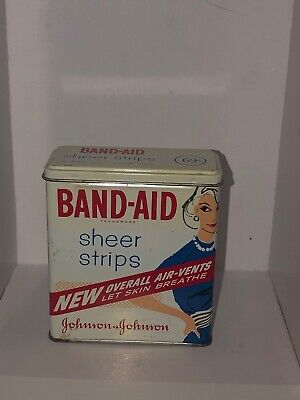 Band Aid Tin Box Lady Blue Dress Advertising Sheer Strips Vintage