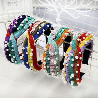 Fashion Wide Knit Pearl Hairband Head Band Multicolor Striped Women Hair Band