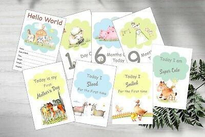 Baby Milestone Cards, Farm Yard and Animals, Unisex, Pack of 39, 300gsm