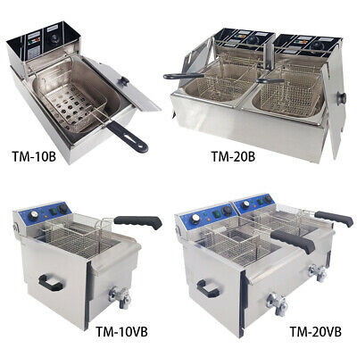 10L/20L Electric Deep Fat Fryer Single/Dual Tank Commercial Chip Stainless Steel