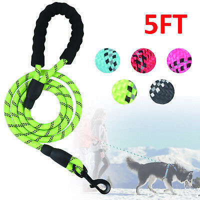 5FT Dog Leash Braided Rope Pet Leads Strong Soft for Medium Large Dogs Walk