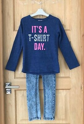 NEXT *9y GIRLS BLUE TOP & JEANS OUTFIT AGE 9 YEARS