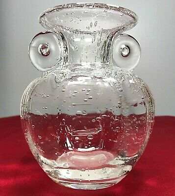 Vintage Murano Hand Blown Clear Glass Vase Controlled Bubble Smooth Pontil 5.25""